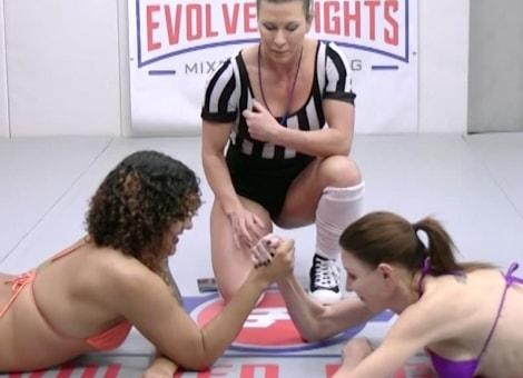 Evolvedfightslez.com- Agatha and Daisy Ducati Arm Wrestling